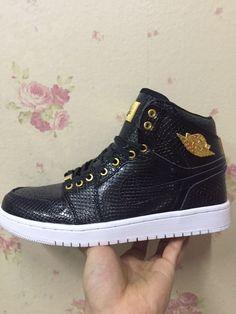 a87f2c700a9f48 Air Jordan 1 one Pinnacle Black Gold In The Hand Hot Sale Cheap Jordan  Shoes