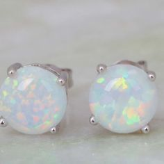 Fire Ice Round Opal Stud Earrings Fire and Ice combined! White Opal/ Round/ Nickel free/ 925 stamp/Silver backing/Stud earrings/ Price Firm Jewelry Earrings