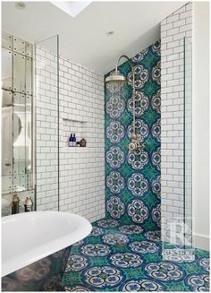 Bring cement tile up on the walls for added decorum - as seen here as shower tile.