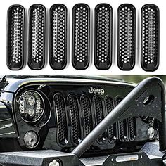 DEDC Jeep Grille Jeep Wrangler Mesh Grill Insert Jeep Grille Guard Front jk…
