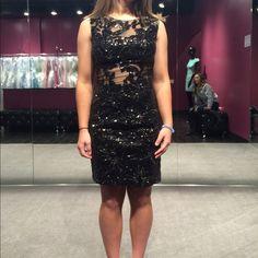 Black semi dress Size 2 was hemmed 1 inch. Few beads missing Jovani Dresses Mini