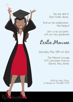Ms Happy Grad - Graduation Party Invitation - African American