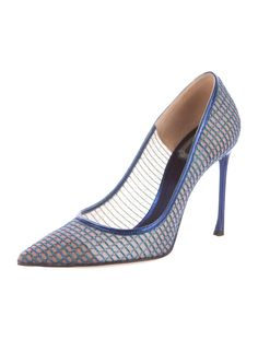 Cobalt and beige mesh Christian Dior pointed toe pumps with braided wire overlay, tonal leather trim, leather soles and covered heels. Crazy Shoes, Pointed Toe Pumps, Christian Dior, Dust Bag, Jordans, Beige, Heels, Leather, Fashion