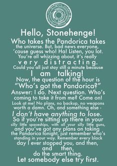 "Doctor Who Stonehenge speech// Pinned this once before but doing it again upon realizing that the person had said ""Dr who"" instead of Doctor Who. WHOVIAN ISSUES"