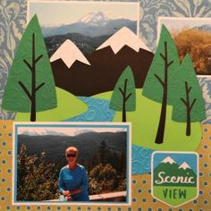 Travel Scrapbook page with a Mountain Scene & Scenic View sign from Cricut Campin' Critters cartridge.