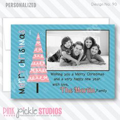 Pink Christmas Tree Christmas Card-personalized invitation, photo card, photo invitation, digital, party invitation, birthday, shower, announcement, printable, print, diy, Personalized Thank You Cards, Personalised Christmas Cards, Personalized Invitations, Happy Merry Christmas, Pink Christmas Tree, Kids Birthday Party Invitations, Baby Shower Invitations, Photo Invitations, Photo Cards