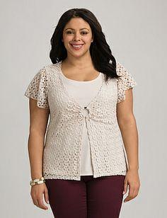 Plus Size Layered Crochet Ring Top | Dressbarn