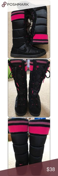 "NIKE Sneaker Puff Nylon High Boot NIKE Sneaker Puff Nylon High Boot  Lightly used NIKE 14"" full length of boot goes over calf. Rarely used, kept with care in my closet as a NIKE FAN. Super cute pink stripe knit like cuff accents. Nylon exterior with black suede like lining for lace area and SWOOSH. Hate getting rid of these but I have not used in awhile.  🔴No trades. Please consider bundling with other items to save on shipping ❌I do not respond to unreasonable offers please be courteous in…"