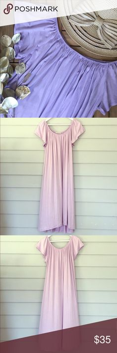 """Lavender Off the Shoulder Midi Dress Hi-lo midi dress with flutter sleeves that can be worn on or off the shoulder. (Hat is also available for purchase in my closet). Bundle 2+ items and save 10%! Size L. Measures approx. 41"""" from shoulder  to hem in the front and 45"""" in the back. Fabric: rayon, spandex. Item is new, direct from designer without tags! Tags: beach poolside coverup spring summer party event office work vacation festival cruise tropical wedding travel Boutique Dresses Midi"""