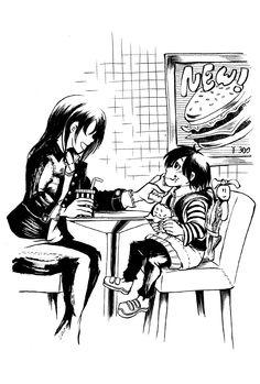 〈ママとおいしいハンバーガー〉 ママ「リュックくらいおろして食べな」 筆特訓玖