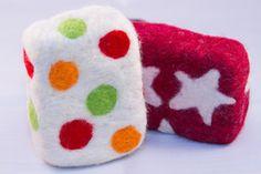pattern designed felted soap