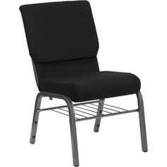 Flash Furniture HERCULES Series 18.5''W Church Chair in Black Fabric with Book Rack - Silver Vein Frame
