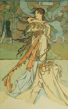 """""""RAMA : poème dramatique en trois actes de Paul Vérola.(1863-1931).  Illustration de Alphonse Musha.(1860-1939).  """""""