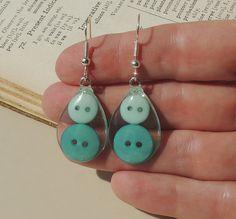 Teal Button Earrings Resin Jewelry Button by JustKJewellery, £12.00