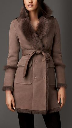 Burberry London Revere Collar Shearling Coat