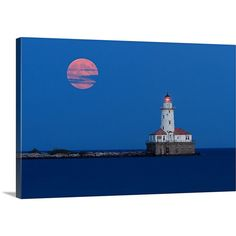 Chicago Lighthouse Photography Canvas Gallery Wrap Large Wall Art... ($157) ❤ liked on Polyvore featuring home, home decor, wall art, home & living, home décor, teal, wall décor, wall hangings, matte painting and flower canvas wall art