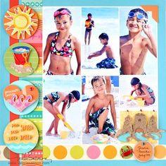 Vsalmon-summerlovin1-cr Beach Scrapbook Layouts, Album Scrapbook, Vacation Scrapbook, Kids Scrapbook, Disney Scrapbook, Scrapbook Sketches, Scrapbooking Layouts, Scrapbook Paper, Scrapbook Photos