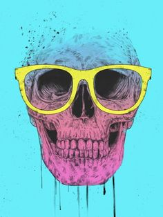 Pop Art Skull With Glasses - Balazs Solti