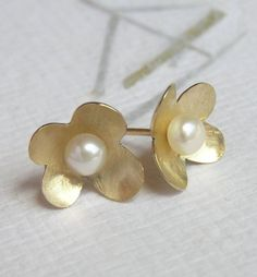 Solid Gold Flower Earrings with a Pearl, 14k