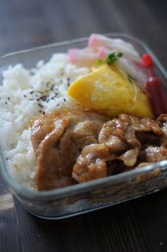 Pork Teriyaki Bento Lunch (w/ Cheese Omelet and Kamaboko Surimi Twists, Rice)|照り焼きポーク弁当