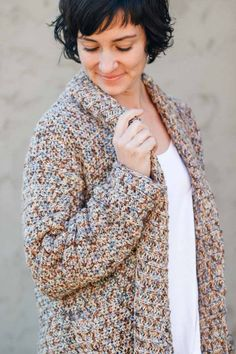Crochet For Beginners Up North Cardigan Crochet pattern by Jess Coppom Make Crochet Round, Easy Crochet, Free Crochet, Knit Crochet, Crochet Sweaters, Beginner Crochet, Crochet Things, Crochet Afghans, Cozy Sweaters