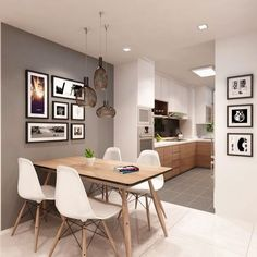 This HDB apartment is an excellent example of how subtle mix and match can be. What is interesting about the interior is that the designer opts for more modern flooring materials in the dining room, such as tiles, but still sticks to parquet in. Dining Room Wall Decor, Dining Room Design, Kitchen Decor, Room Kitchen, Kitchen Ideas, Kitchen Colors, Kitchen Living, Kitchen Interior, Ikea Dining Room