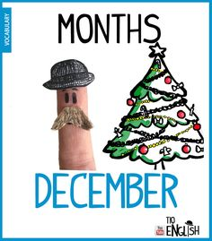 December, months in English. English Study, English Words, English Lessons, Learn English, Name Of Months, Months In A Year, Vocabulary Words, English Vocabulary, Months In English