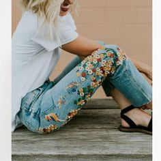 Yellow flowers and birds embroidered jeans, Hip Boho Fashion, Casual and Fun, International Sizing, Please Read Size Chart