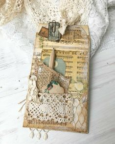 An altered envelope to go in my newest journal. You can find these long flap envelopes in Denise's shop 🌸 they are so much… Handmade Journals, Handmade Books, Handmade Crafts, Vintage Journals, Vintage Tags, Vintage Paper, Journal Cards, Junk Journal, Book Crafts