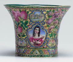 Khalili Collections - Qajar dynasty ca 1860 Iran - Hookah cup, gold,translucent and painted enamel. Iran, Qajar Dynasty, Teheran, Cultural Diversity, Indian Art, Vignettes, Handicraft, Persian, Objects