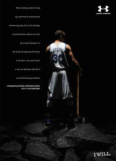 #poundingtherock RT @darrenrovell: Under Armour's Steph Curry MVP print ad