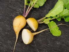 This bright yellow, olive-shaped radish is truly one of the most beautiful and tasty radishes