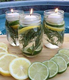 repele insectos 10 gotas de aceite aromatico de menta, eucalipto, limos o lavanda ., 2 ramitas de romero , medio limos , agua  y vela flotante !