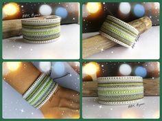 Manchette multi-rangs avec tissages en perles Miyuki. Vert, blanc, argenté....