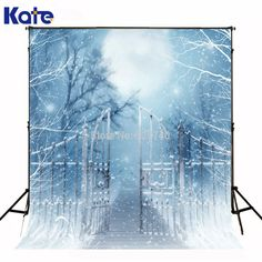 5*7FT New Year 2016 Kate Photography Backdrops Light Blue Iron Gate Moonlight Photographic Christmas Snow For Children Chrismas