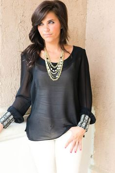 7b6b205304ddd Picture of Black Top with Wrist Detail Classy Lady