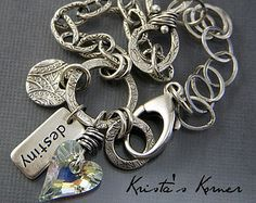 PMC Recycled Silver Metal Clay Swarovski Heart and Chain Link Bracelet