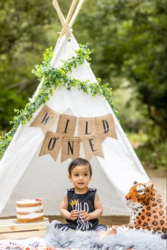 One year old baby boy wild one photo shoot jungle theme
