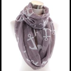 """Lavender Gray Anchor Pattern Infinity Scarf NWOT This brand new (w/out tags) beautiful lavender gray scarf has a cute anchor pattern and is handmade of super soft viscose material.  It measures about 32"""" x 35"""" (seam to seem length is 70"""").  Perfect for a day or evening outing with friends! Accessories Scarves & Wraps"""