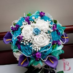Bridal cascading silk flower wedding bouquet in purple, aqua teal brown turquoise wedding flower bouquet | Wedding Inspiration Images