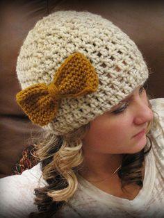 Crochet - Accessory Patterns - Hats, Hoods & Head Warmers - Bow Beanie