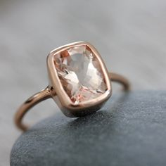 Morganite and 14k Rose Gold Ballerina Ring via Etsy.