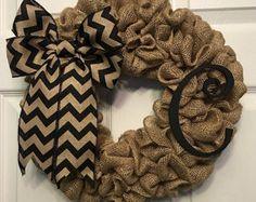 Chevron Wreath Burlap Wreath Initial Wreath by Studio31TenGifts