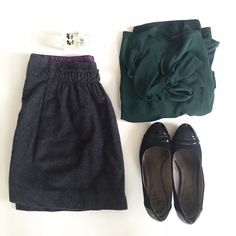 "J.Crew Shirred Wool Skirt in Charcoal Size 10 • Pockets • Side zip with hook and eye closure • Fully Lined • Waist: 15.5"" across when laid flat • Length from waist to hem: 17""• Fabric content: 97% wool, 3% elastase; lining: 100% acetate • In great condition J. Crew Skirts Mini"