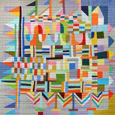 Patchwork Doodle from daintytime This looks like a carnival on a ship with little flags. A happy quilt.