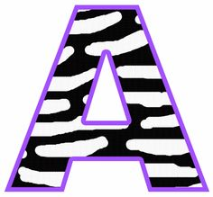 Purple Zebra Letter Alphabet Wall Stickers.