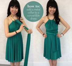 Get creative with your convertible fashion & think outside of the box. This easy necklace neckline is created with… a necklace! While it adds major sophistication, it's easy to do and adds some major shine. Follow the steps below to learn how: You'll need: – an Sakura Emerald Green Midi Convertible Dress – a statement …