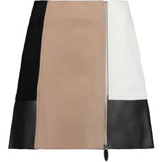 Alexander Wang Color-block suede and leather mini skirt (4,510 GTQ) ❤ liked on Polyvore featuring skirts, mini skirts, sand, leather miniskirt, stretchy mini skirts, beige mini skirt, mini skirt and stretch skirts