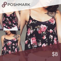 Floral Crop Tank 🌸 Double layered with tight  stretchy crop Ttank beneath and flowy loose top layer. Moving soon & Cleaning out my closet, so no trades. Make me a reasonable offer I can't refuse! PLUS 20% off 2 or more 😊 Rue 21 Tops Tank Tops