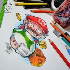 Art Drawings Sketches Simple, Cartoon Drawings, Animal Drawings, Nintendo Tattoo, Gaming Tattoo, Tatoo Geek, Tatuagem New School, Leg Sleeve Tattoo, Graffiti Characters